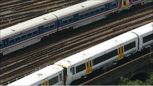 Trains on Network Rail tracks
