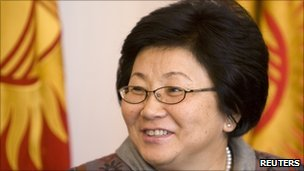 President Roza Otunbayeva speaks to reporters after voting in Bishkek - 10 October 2010