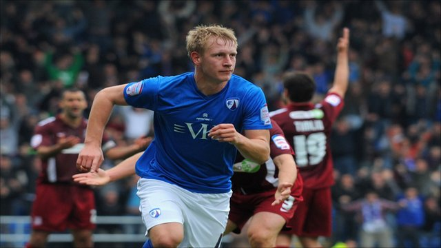 Scott Boden celebrates scoring for Chesterfield against Southend