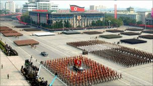 Military parade in Pyongyang, North Korea - 10 October 2010