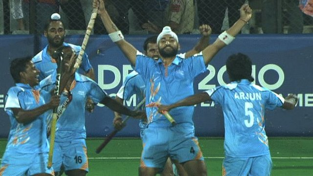 India's men's hockey team celebrate their win over Pakistan