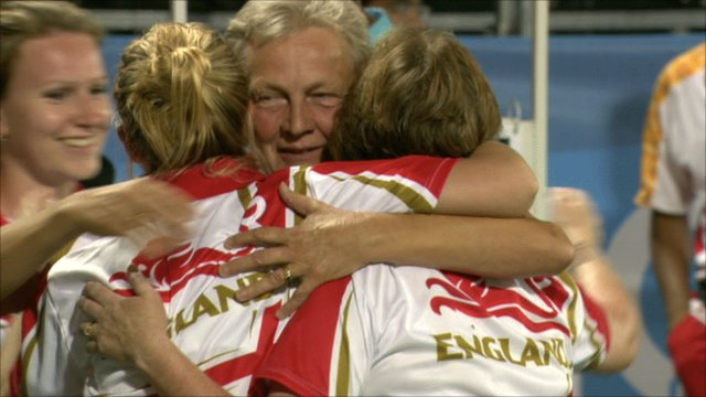 England's bowls team celebrate their bronze medal