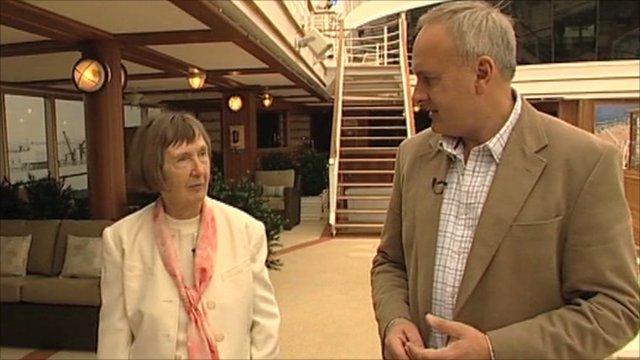"The ""godmother"" Denny Farmer and the BBC's Robert Hall"