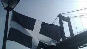 Cornish flag at Tamar Bridge