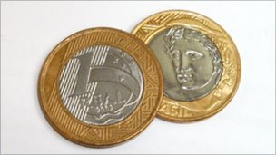 Both sides of Brazil&#039;s one-real coin