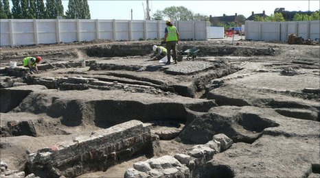 Archaeologists at work at Hungate in York.