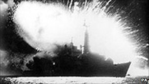 Explosion on board HMS Antelope which later sank