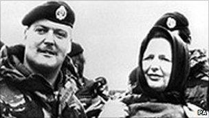 Margaret Thatcher visiting the Falklands in 1983