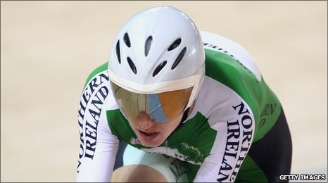 Wendy Houvenaghel of Northern Ireland in action in the Women's cycling 3000m individual pursuit in Delhi