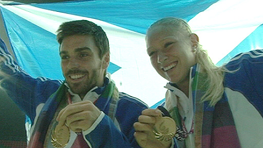 Scotland's Colin Fleming and Joss Rae with their gold medals
