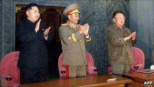 North Korean leader Kim Jong-il (R) and his son Kim Jong-un (L) enjoying an evening gala in Pyongyang
