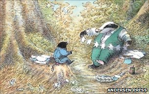 Badger makes paper chain for mole (Badger's Parting Gift by Susan Varley, Andersen Press)