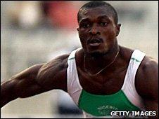 Nigerian hurdler Samuel Okon