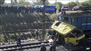 Ukraine train and bus collision kills 40