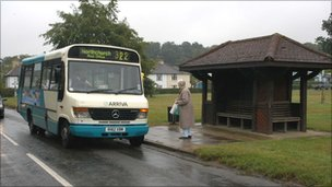 Village bus at a bus stop