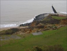 View of the coastal erosion threatening Naze Tower and the area around it