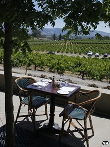 Empty table overlooking vineyard