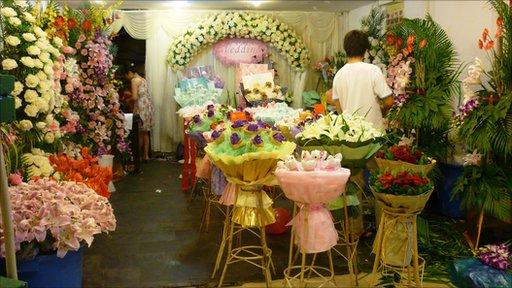 A shop in the Caojiadu Flower Market