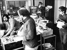 Mike Dickin, Mike Hollinsworth and Andy Wright in the studio
