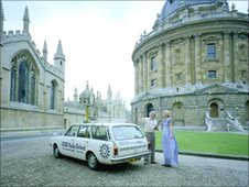 The BBC Radio car broadcasts from the Radcliffe Camera in the 1980s