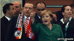 Turkish PM Recep Tayyip Erdogan and German Chancellor Angela Merkel