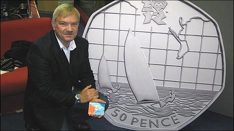 Bruce Rushin with 2012 Olympic 50p coin