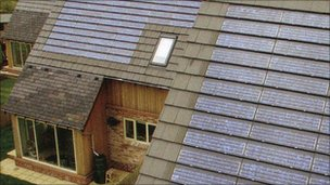 Solar panels on eco-houses