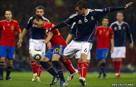 Lee McCulloch in action for Scotland against Spain