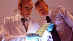 Kevin Bygate of Tata Steel (right) is shown an electroluminescent panel by Professor Dave Worsley