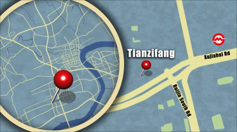 Map shows the location of Tianzifang