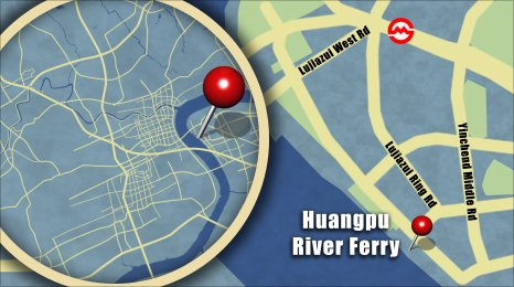 Map shows the locartion of the Huangpu River Ferry