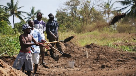 Men at work on the excavation site in Mambrui, Kenya