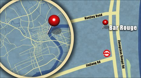 Map shows the location of Bar Rouge
