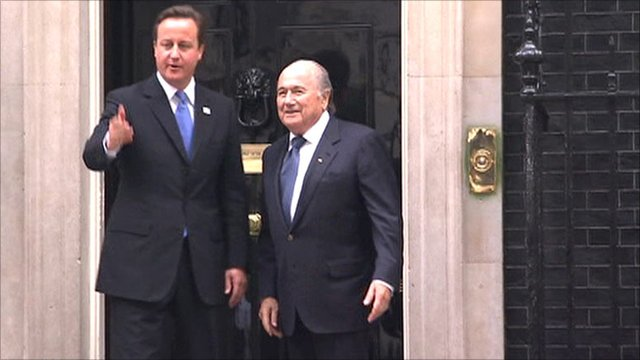 Prime Minister David Cameron with Fifa president Sepp Blatter