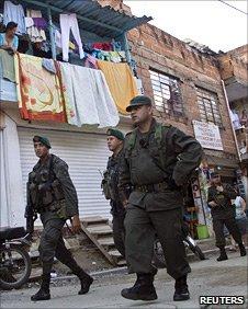 Soldiers patrol in Medellin
