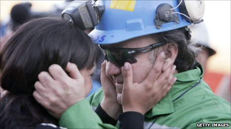 Chilean miner Franklin Lobos is reunited with his loved ones