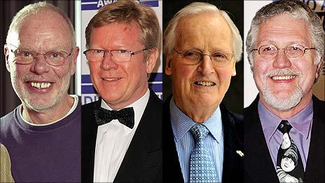 Bob Harris, David Jensen, Nicholas Parsons and Dave Lee Travis