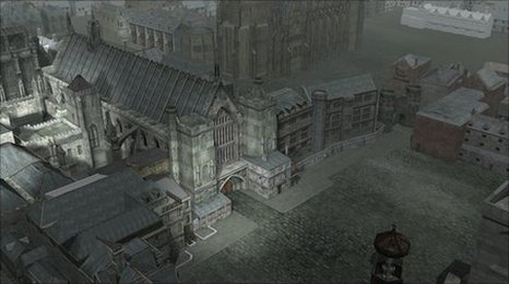 CGI Image of the medieval buildings that surrounded the English Parliament in 1605