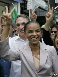 Marina Silva campaigning on the outskirts of Sao Paulo last month