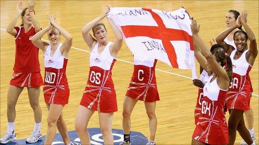 England celebrate netball bronze