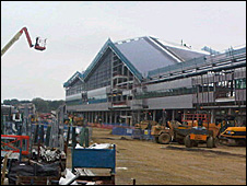 Silverstone's new pit and paddock building under construction