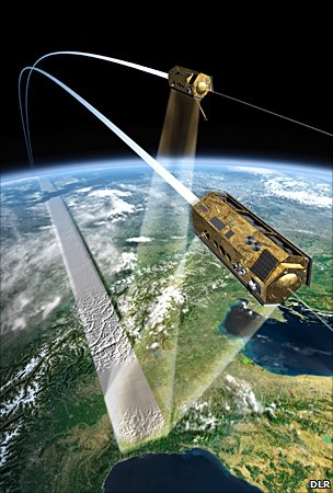 Artist&#039;s impression of TanDEM-X and TerraSAR-X (DLR)