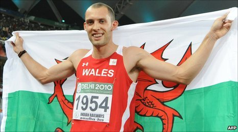 Dai Green celebrates after winning gold in the 400m hurdles