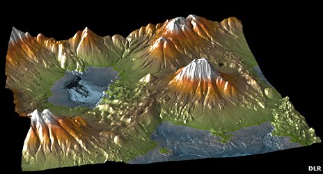 Elevation model shows the Aracar volcano on the Chilean-Argentinian border (DLR)