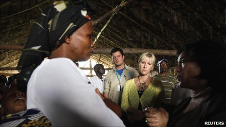 Margot Wallstrom, the UN's special representative on sexual violence, listens to villagers in Kitchanga, in eastern Democratic Republic of Congo