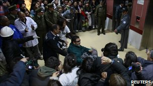 The last rescued miner, Luis Urzua, arrives at hospital in Copiapo - 14 October 2010