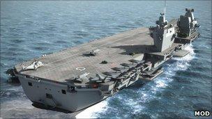 A computer image of an aircraft carrier