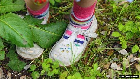 Shoes among weeds