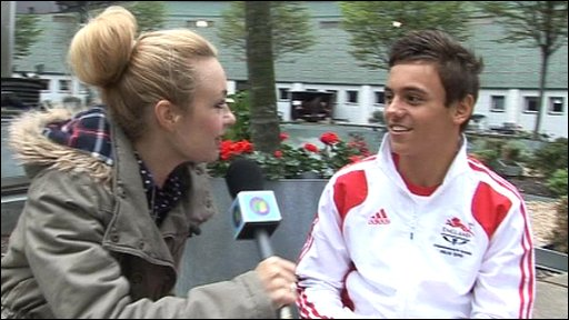 Swimmer Tom Daley talks to Hayley