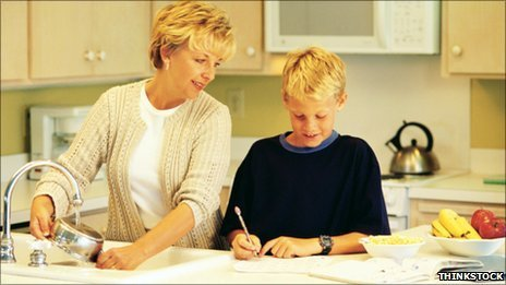 Woman doing housework and helping child with homework